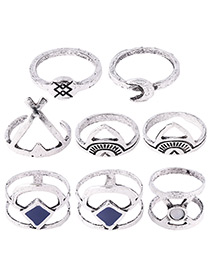 Fashion Antique Silver Square Shape Diamond Decorated Simple Ring(8pcs)