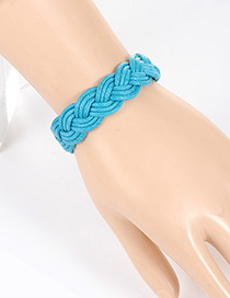 Fashion Blue Pure Color Decorated Hand-woven Bracelet