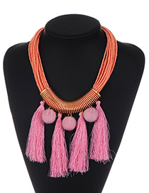 Fashion Orange+pink Fuzzy Ball&tassel Decorated Simple Pom Necklace