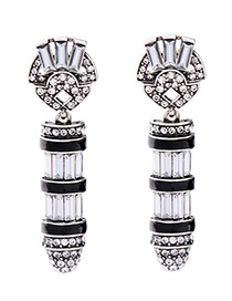 Fashion White+black Bullet Shape Decorated Color Matching Earrings