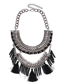 Fashion Black Tassel Pendant Decorated Double Layer Necklace