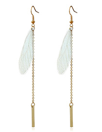 Fashion Green Wings&vertical Shape Decorated Earrings