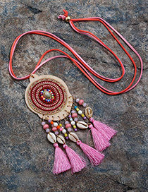 Fashion Pink Tassel&shell Pendant Decorated Long Necklace