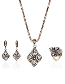 Vintage Antique Gold Geometric Shape Diamond Decorated Jewelry Sets