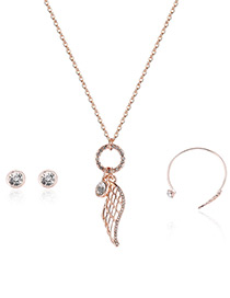 Fashion Rose Gold Wing Pendant Decorated Simple Necklace(3pcs)