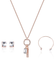 Fashion Rose Gold Circular Ring Decorated Simple Necklace (3pcs)