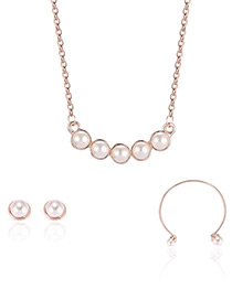 Fashion Rose Gold Pearls&circular Ring Decorated Simple Necklace (3pcs)
