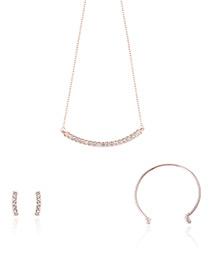 Fashion Rose Gold Diamond Decorated Pure Color Necklace (3pcs)
