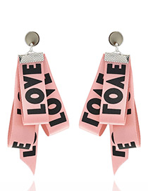 Fashion Pink Letter Pattern Decorated Simple Earrings