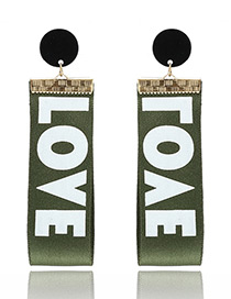 Fashion Green Letter Love Pattern Decorated Simple Earrings