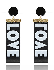Fashion Black Letter Love Pattern Decorated Simple Earrings