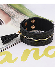 Fashion Black Tassel Pendant Decorated Pure Color Bracelet