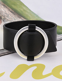 Fashion Black Buckle Decorated Pure Color Width Bracelet