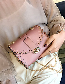 Trendy Pink Rivet Decorated Pure Color Mini Shoulder Bag