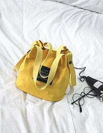 Elegant Yellow Letter Pattern Decorated Pure Color Shoulder Bag