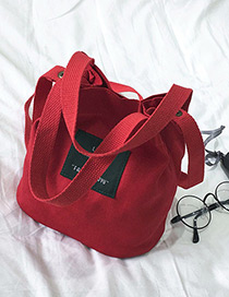 Elegant Red Letter Pattern Decorated Pure Color Shoulder Bag
