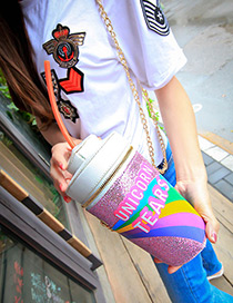 Fashion Pink Bottle Shape Decorated Color Matching Shoulder Bag