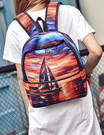 Fashion Multi-color Printing Boat Pattern Color Matching Backpack