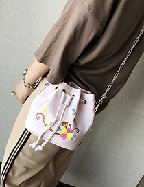 Fashion Pink Embroidery Flower Decorated Pure Color Shoulder Bag