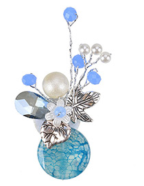 Fashion Blue Flower Shape Decorated Color Matching Brooch