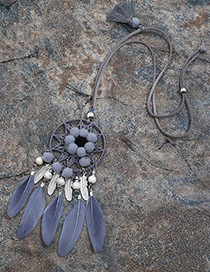 Fashion Gray Feather&ball Decorated Pure Color Pom Necklace