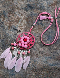 Fashion Pink Feather&ball Decorated Pure Color Pom Necklace