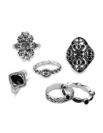 Vintage Antique Silver Flower Shape Decorted Pure Color Ring Sets (6 Pcs)