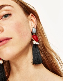 Fashion Black+red Tassel Decorated Pure Color Earrings