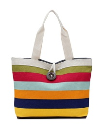 Fashion Multi-color Stripe Pattern Decorated Simple Shoulder Bag(randomly)