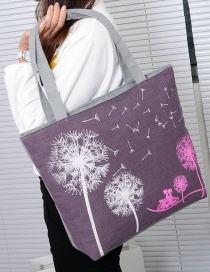 Fashion Purple Dandelion Pattern Decorated Shoulder Bag