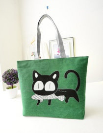 Fashion Green Cartoon Cat Pattern Decorated Shoulder Bag