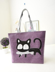 Fashion Purple Cartoon Cat Pattern Decorated Shoulder Bag