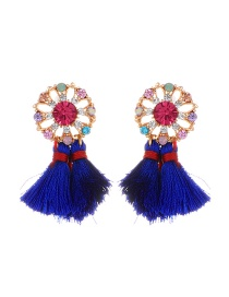 Fashion Sapphire Blue Flower&tassel Decorated Simple Earrings