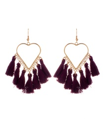 Fashion Dark Purple Tassel Decorated Heart Shape Design Earrings