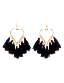 Fashion Black Tassel Decorated Heart Shape Design Earrings