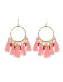 Fashion Pink Tassel Decorated Round Shape Design Earrings