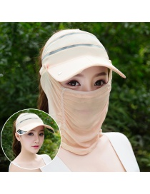 Trendy Champagne Pure Color Decorated Anti-ultraviolet Hat