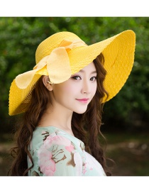 Trendy Yellow Bowknot Decorated Pure Color Anti-ultraviolet Hat