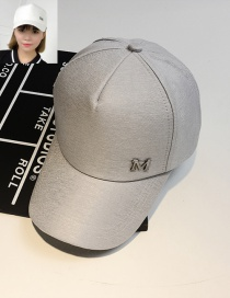 Fashion Gray Letter M Pattern Decorated Pure Color Cap