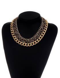 Fashion Black Chains Decorated Hand-woven Design Necklace