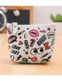 Lovely White Cartoon Pattern Decorated Simple Wallet