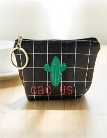 Lovely Black Cactus Pattern Decorated Simple Wallet