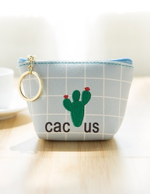 Lovely Blue Cactus Pattern Decorated Simple Wallet