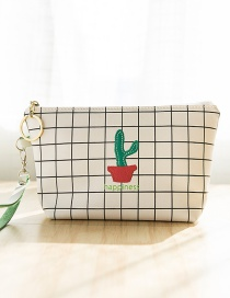 Lovely White Cactus Pattern Decorated Grid Design Wallet