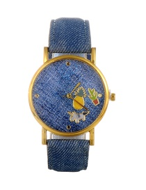 Fashion Blue Pineapple Pattern Decorated Round Dail Watch