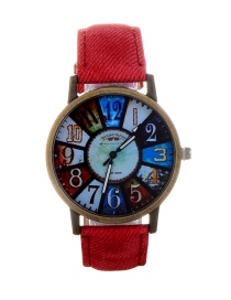 Fashion Watermelon Red Color Matching Decorated Round Dail Watch