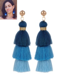 Fashion Blue Tassel Decorated Color Matching Earrings