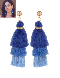 Fashion Sapphire Blue Tassel Decorated Color Matching Earrings