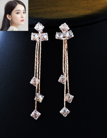 Fashion Rose Gold Long Tassel Decorated Pure Color Earrings