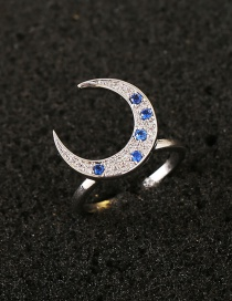 Fashion Blue Moon Shape Decorated Simple Opening Ring